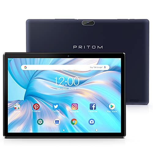 Pritom TronPad 10 inch Tablet -Android Tablet GMS Certified, 2GB RAM, 32GB ROM, Quad Core Processor, HD IPS Screen, Dual Camera, WiFi, Bluetooth, GPS - Tablet PC(BlackBlue)