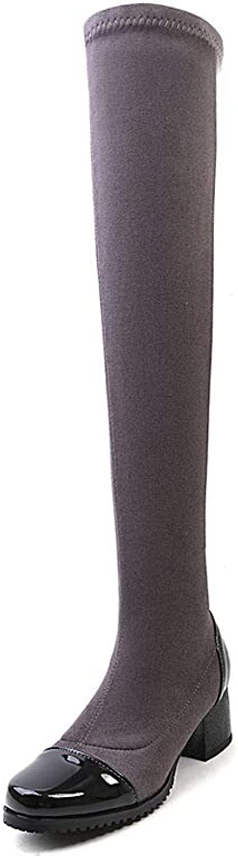 FORTUN Retro Knee-high Boots Women's Slim Flat Boots Martin Boots