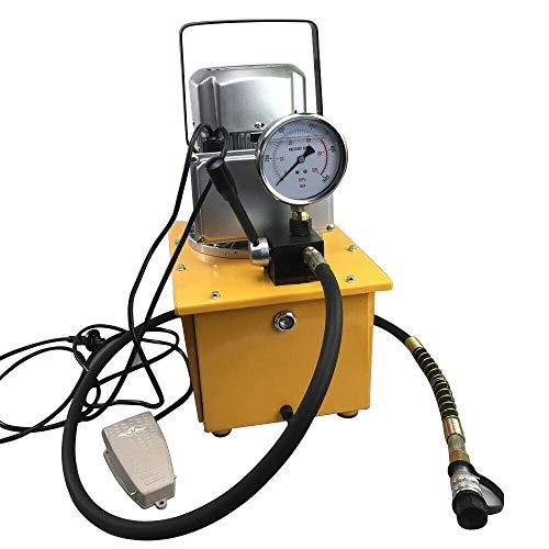 BTdahong 700Bar Elektrische Hydraulikpumpe Elektrohydraulikpumpe + Manuelle Ventil Einzel-wirkende Hydraulikaggregat + 1.8m Ölschlauch 750W 7L, 1400r/Min