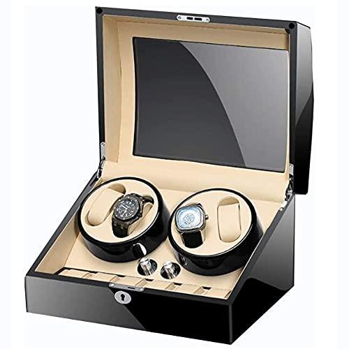 Angelay-Tian Caja enrolladora de reloj automática, con 4 posiciones de enrollador de reloj y 6 espacios de almacenamiento de pantalla para hombres y mujeres para todos los relojes mecánicos automático