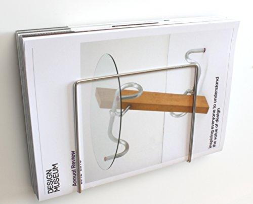 Plew Plew - Zeitschriftenhalter, Broschürenständer, Edelstahl, Wandmontage (18L x 16H x 4T cm)