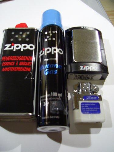 Zippo Feuerzeug Chrome brushed + Benzin + Gaseinsatz + Gas
