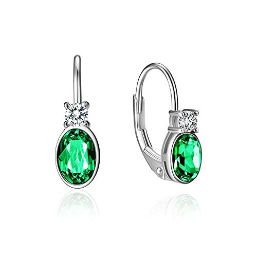 AOBOCO Pendientes de aro de plata de ley 925 con cristales de esmeralda, joya hipoalergénica, regalo de cumpleaños para niñas y mujeres