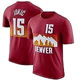 Ordioy T-Shirt A Maniche Corte da Basket da Uomo, Maglia da Basket NBA Denver Nuggets # 15 Nikola Jokic, Felpa da Allenamento per Tifosi Uniforme Sportiva Maglie Larghe,Rosso,M(165~170CM)