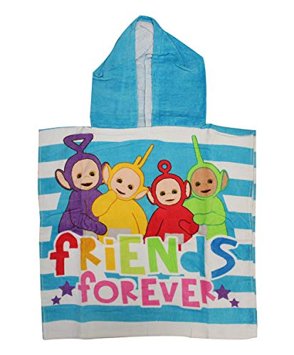 Teletubbies 1972/5000 Tinky-Winky, Dipsy, Laa-Laa, Po Badeponcho con Capucha Friends Forever Hecha 100% Algodón, para niños, Talla única, Azul