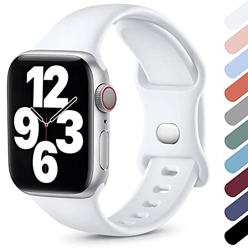 Upeak Compatible con Correa Apple Watch 38mm 40mm 42mm 44mm, Correa Deportiva de Silicona Suave Compatible con iWatch Series SE 6 5 4 3 2 1, 38mm/40mm-S/M, Blanco