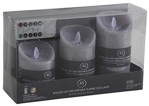 PEGANE Coffret 3 Bougies à LED parfumées Fleur de Coton, avec télécommande