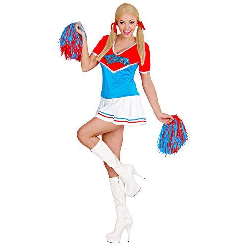 WIDMANN 79142 79142 - Disfraz de animadora con 2 pompones para la escuela, deporte, colegiala para carnaval, fiesta temtica, mujer, color rojo y azul, talla M