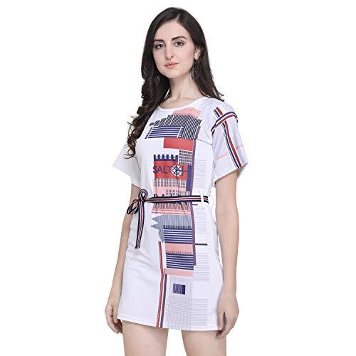 J B Fashion Solid Lycra Fabric Women Dress with Half Sleeves for Fancy Dress,Stylish Dress, Casual Wear Dress for Women/Girls Dress (Print-Midi-M) White