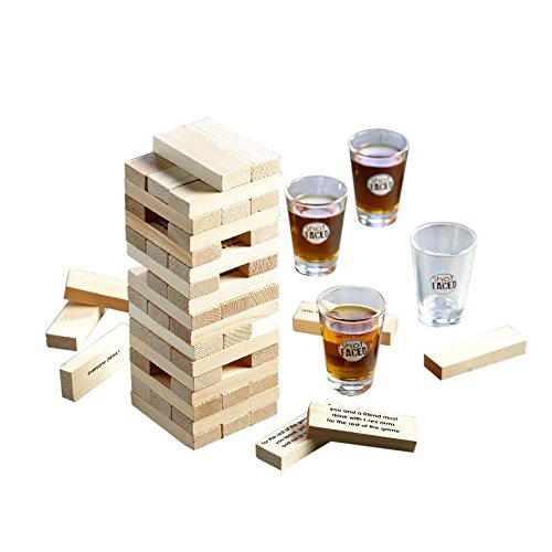 Game Night Tipsy Tower Glass Drinking Game Set w/Wooden Blocks & 4 Lead-Free Shots-Ideal Gift for Birthdays, Father