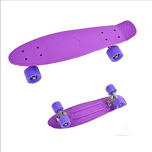 Komplett Mini Kreuzer Penny Stil Skateboard Street Skate Bananen Plastik Verschiedene Farben Lila