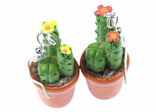 Miniblings Kaktus Kakteen Topfpflanze Ohrringe Hänger Blüten dreistämmig 3D - Handmade Modeschmuck I Ohrhänger Ohrschmuck versilbert