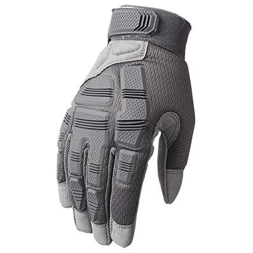 LxdGloves Outdoor-Vollfinger-Taktik Handschuhe Motorrad Radfahren Klettern Sport Anti-Rutsch-Verschleiß Werkzeugschutz Handschuhe Grau L