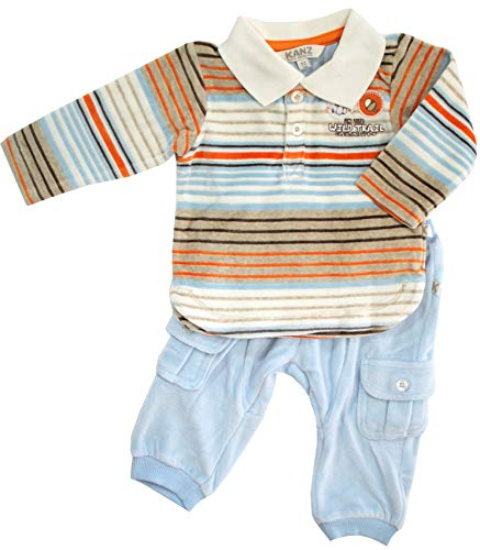 Kanz Jungen Baby 2-teiliges Nicki-Baby-Set Woodland Stories, Hellblau-Orange-Braun, Gr. 92