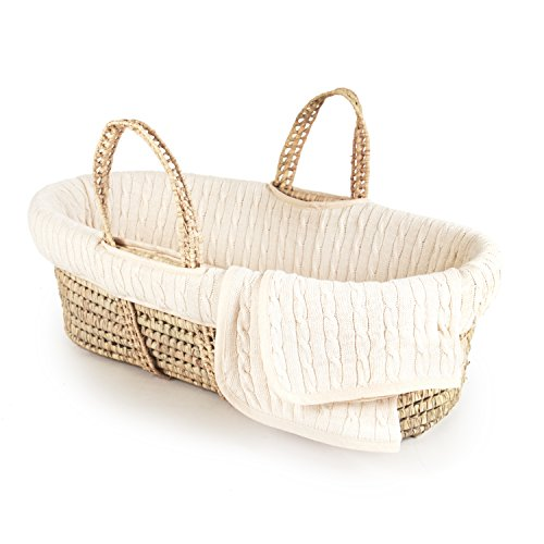 Tadpoles Deluxe Cable Knit Moses Basket and Bedding Set, Natural