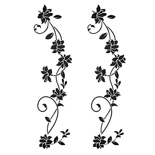 2 pezzi adesivi murali neri ornamenti set autoadesivi per la decorazione della parete, fiori viticci...