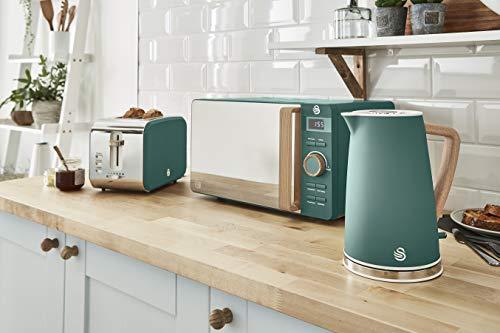 Swan Nordic Set Frühstück Wasserkocher 1,7 l 2200 W Breitschlitz-Toaster 2 Scheiben Mikrowelle 20 l Digital Design Modern Holzoptik Grün