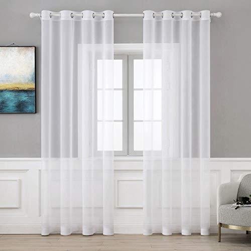 MIULEE 2 Pannelli Tende Voile Leggeri Trasaprenti Decorative con Occhielli per Soggiorno e Camera da Letto 140x260cm Bianco