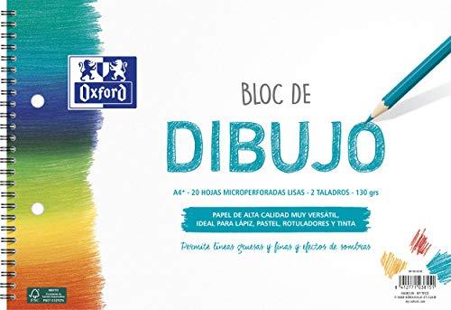 Oxford Bloc Dibujo Escolar A4+ Tapa Blanda/Contratapa rígida 20 Hojas 130gr Liso con 2 Taladros, con Espiral