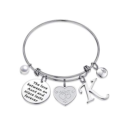 Yoosteel Aunt Gifts from Niece, Dainty Aunt Gift Personalized Jewelry Gifts for Women K Initial Bracelets for Women Aunt Gift