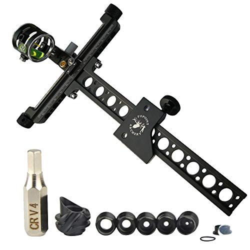 """NMCPY Archery Compound Bow Sight with 45 Degree Hooded Peep Sight Five Set 0.059"""" Micro Adjust Long Pole Hunting Accessories"""