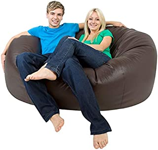 Monster Double Bean Bags Faux Leather Giant Bean Bag 4 Foot Cover only (Brown)