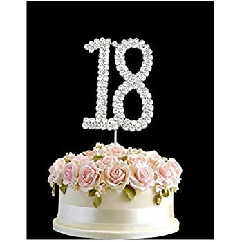 Stupendous Rhinestone Crystal Birthday Cake Topper Number Pick 18Th Diamante Funny Birthday Cards Online Inifodamsfinfo