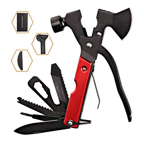 Survival Kit, Messer and Axt, Multifunktionswerkzeug 18-in-1 Multitoolaus Edelstahl Tragbar Hammer Jagdzubehör für Camping, Wandern, Notfall, Geschenke für Mann