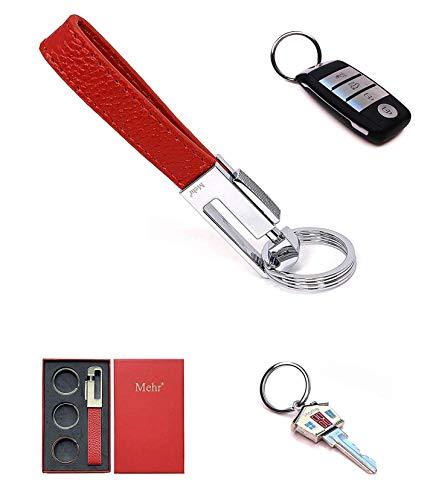 Mehr Key Chain - Leather Detachable Keychain, Valet Luxury Car Keyring Holder, Gift Idea Men Women KC8, Red
