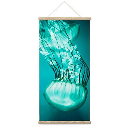 bestdeal depot Hanging Poster Colorful Jellyfish Canvas Prints Wall Art for Living Room, Bedroom - 18'x36'