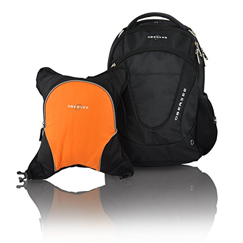 Obersee Oslo Diaper Bag Backpack with Detachable Cooler (Black/Orange)