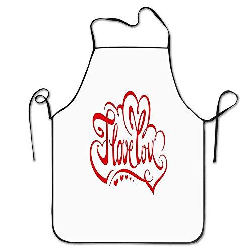 Cintura Inscripción caligráfica de la frase Te amo y corazones de San Valentín Delantal del tema de la adoración Delantal del babero casero para mujeres Hombres Chica Niños Regalos Decoración de la co