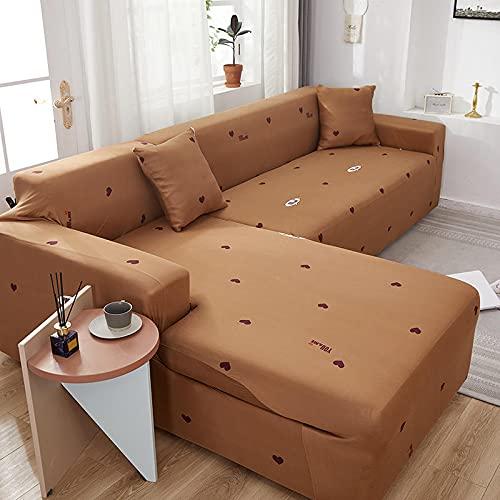 ASCV L-förmige elastische Ecke Sofabezug Sofagitter Bedruckte Schonbezug Couch Sofabezüge für Wohnzimmer A8 4-Sitzer