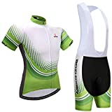 Classic Racing Hombres Ciclismo Jersey Trajes de Manga Corta Verde, Outdoor Road Bike MTB Summer Transpirable Anti-UV Bicicleta Clother Set, Gel Acolchado Bib Cycle Shirt Combo