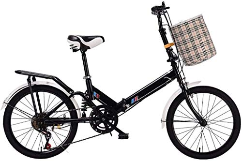 20 Pulgadas Bicicleta Bici Ciudad Plegables Adulto Hombre Mujer, Bicicleta de Montaña Btt MTB Ligero Folding Mountain City Bike Doble Suspension Bicicleta Urbana Portátil, H090ZJ (Color : Black)