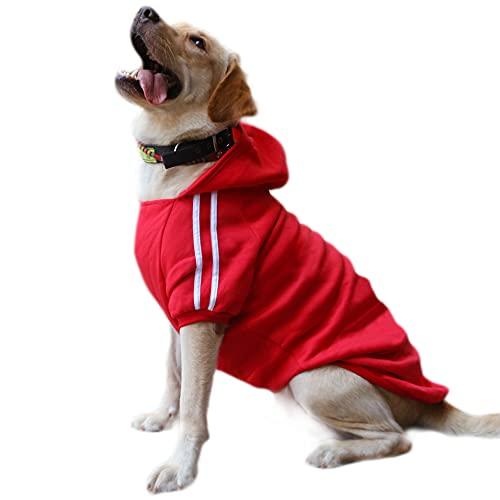 DULEE Ropa Perro Grande,Cálido Sudadera con Capucha para Perros Algodón Suéter Chaqueta Abrigo Costume Pullover para Mascota Perro Gato Rot 5XL