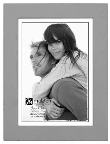Malden International Designs Linear Classic Wood Picture Frame, 5x7, Gray