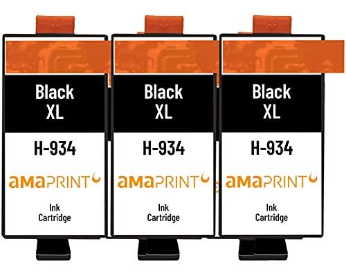 Amaprint 3 XL Cartuchos Compatible con HP 934 Negro para HP OfficeJet 6200 6230 6235 6239 6800 6812 6815 6820 6822 6825 6830 6835