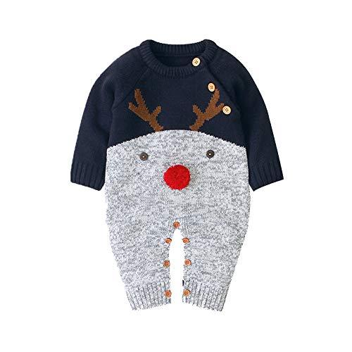 sunnymi Chaqueta de invierno para bebé niño y niña, 0 – 18 meses, para niños pequeños de Navidad, Papá Noel, dibujos animados, pelele de peluche azul 6-12 Meses