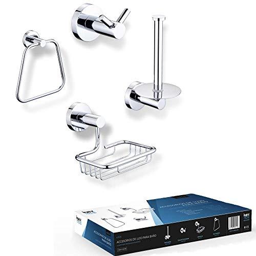 INEX Europa IB 904 CR - Accesorios baño 4 Piezas Metálico Cromado, Toallero de Anilla, Porta Papel Higiénico, Jabonera de Rejilla y Percha Colgador Doble