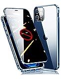 【最新グレードアップ版】iPhone12 Pro Max ケース アイフォン12 プロ マックス 対応 覗き見防止 カメラ保護 OURJOY 両面ガラス 360°全面保護 アルミバンパー マグネット スマホケース ・ブルー