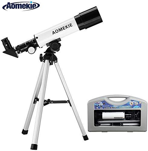 Aomekie Teleskop Kinder Einsteiger 50/360 Fernrohr Teleskop Astronomie mit Koffer Stativ und Zenitspiegel