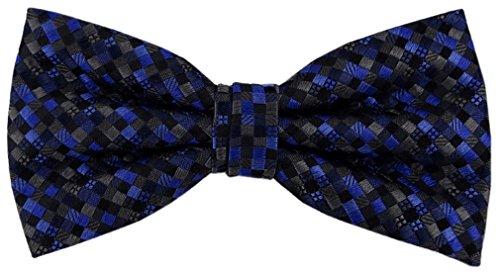 TigerTie Designer Nœud papillon soie bleu anthracite noir à motifs - Nœud papillon soie silk