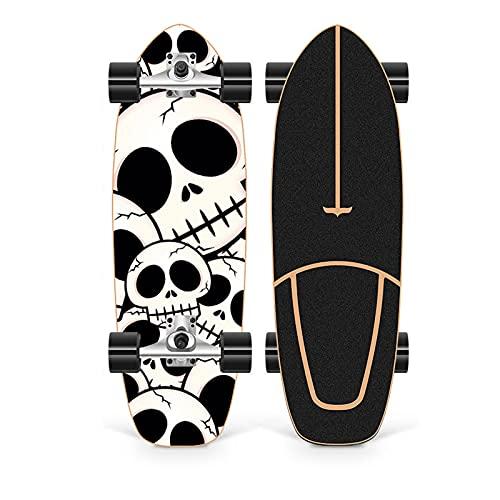 XKAI 75×23cm Surf Skate Completa Monopatin para Principiantes Skateboard CX4 Fancy Board Maple Wood Deck Longboard para Adolescentes y Adultos, Rodamientos de Bolas ABEC-11