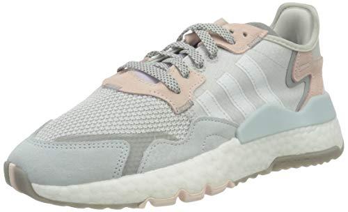 adidas Nite Jogger, Sneaker Mujer, Grey/Footwear White/Pink Tint, 37 1/3 EU