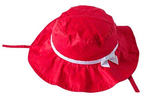 Bigood Chapeau Bébé Fille Coton Pêche Camping Protection Soleil Nœud Papillon Souple Eté Tour de Tête 50cm