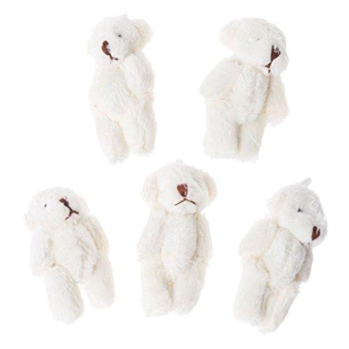 Cansenty Kawaii kleine Bären, Plüschtier, Perlensamt, Geschenke, Mini-Teddybär, 5 Stück weiß
