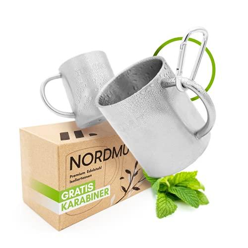NORDMUT® Edelstahl Thermobecher [2er Set] Camping Tasse aus hochwertigen Edelstahl | nachhaltige Outdoor Kaffeetasse Isolierbecher doppelwandig isoliert und BPA frei | Tassen Set [2 x 300 ml]