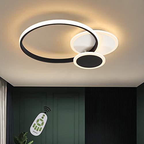 CBJKTX Deckenlampe LED Deckenleuchte Wohnzimmer dimmbar 39W Modern Ring Design Schlafzimmerlampe Schwarz Weiß aus Eisen Aluminium und Acryl mit Fernbedienung auch für Esszimmer Büro Flur