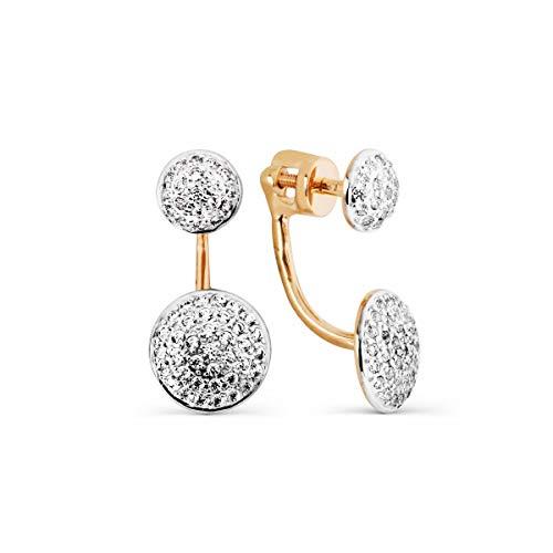 Damen-Ohrringe 585 russisches Rotgold, 14 Karat Jacke
